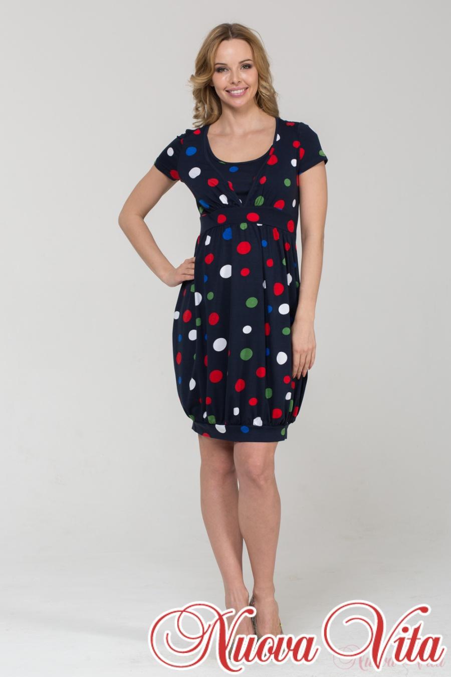 Платье в горох для беременных